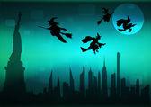 Paisaje urbano de nueva york en la noche de halloween — Foto de Stock