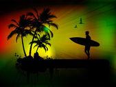 Tropikalny tło z surfer — Zdjęcie stockowe