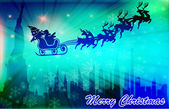 Santa Clause flying above the city — Stock Photo