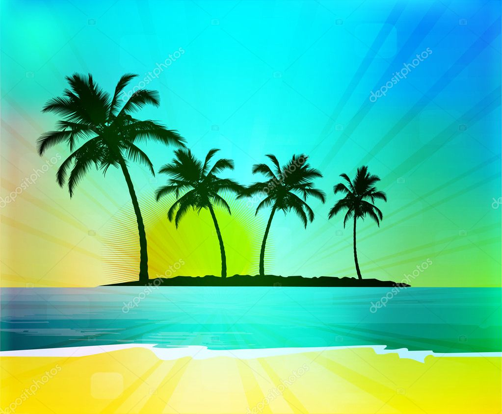 Tropical background, vector illustration  Stock Photo #7532081
