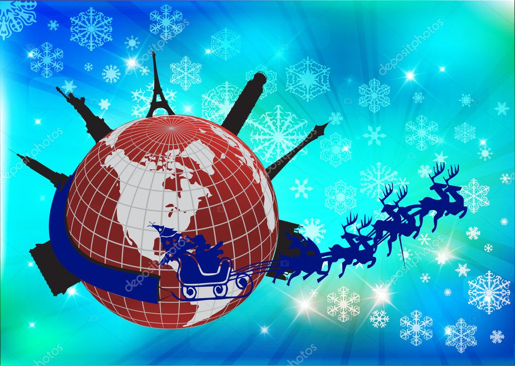 Santa in his sleigh with his reindeer around the world, vector illustration  Stock Photo #7532954