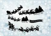 Santa clausule silhouetten — Stockfoto