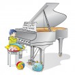 Young pianist — Stock Vector