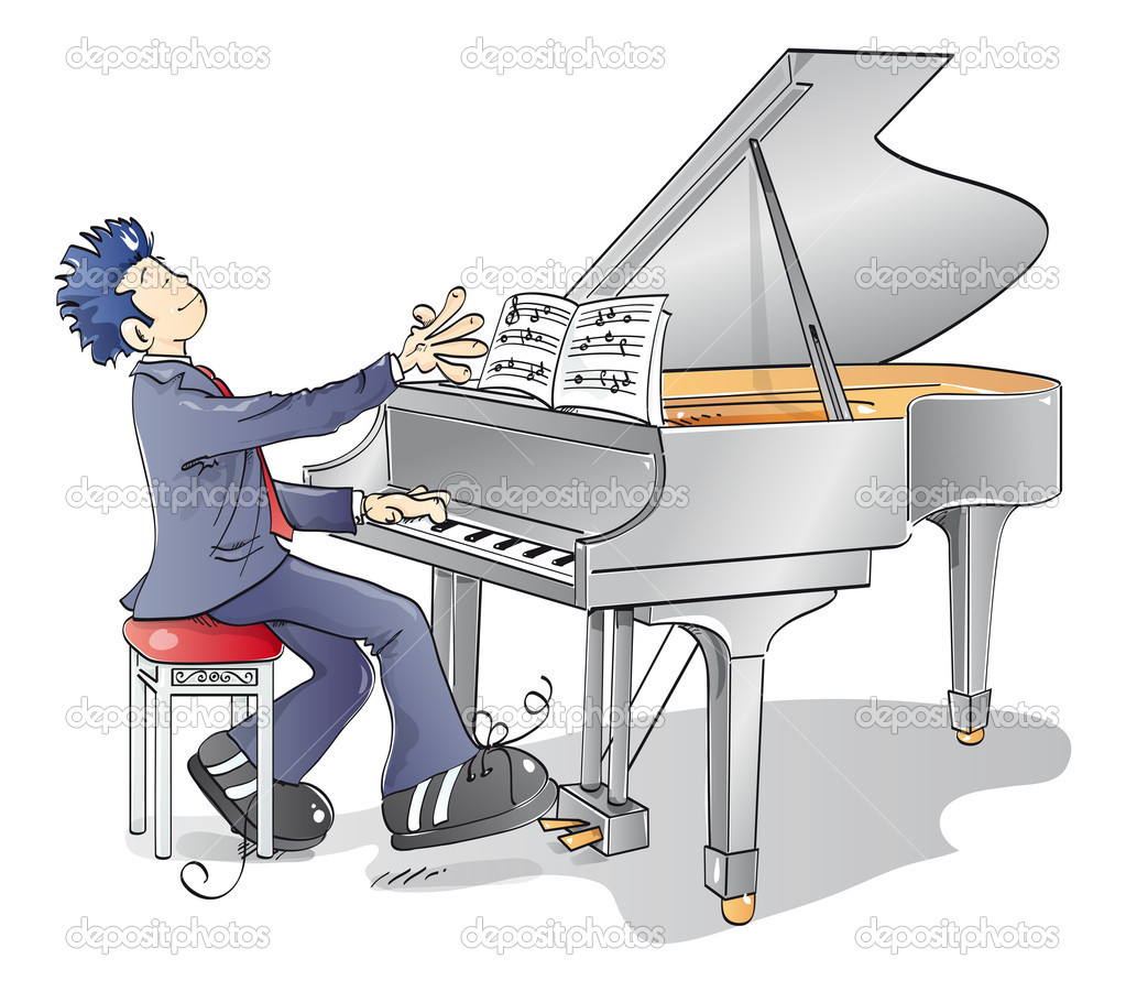 Man playing a melody on the piano — Stock Vector #6859022