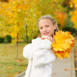 Girl with yellow leaves — Stock Photo #7144788