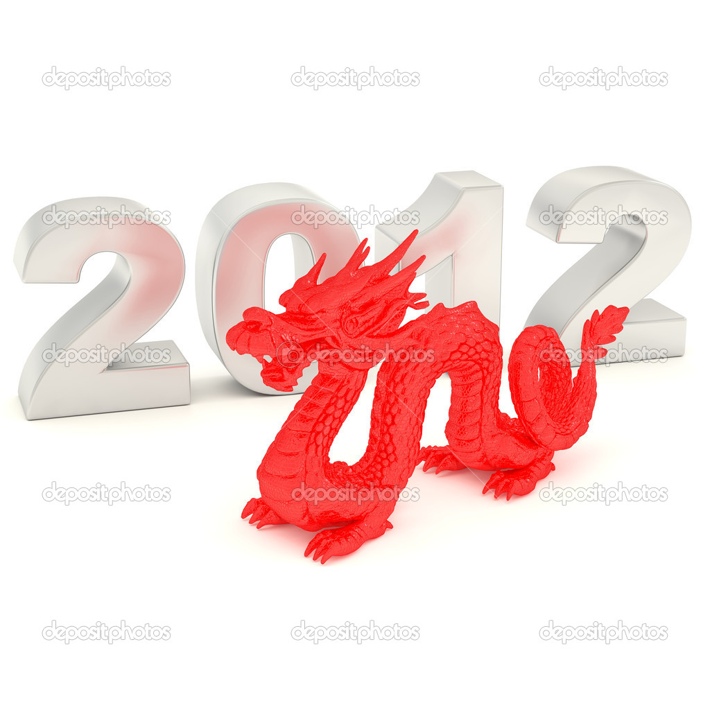 2012-year of blue dragon (3D render) — Stock Photo #7375360