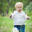 Outdoor portrait of a cute little baby — Stockfoto