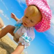 Baby playing on the beach — Stock Photo #6883360