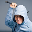 The portrait of an aggressive bandit — Stock Photo