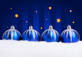 Glittering blue christmas balls — Stock Photo