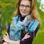porträtt av ung kvinna som allvarliga — Stockfoto