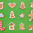 Homemade Gingerbread cookies  on green background — Foto de Stock