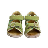 Used green child sandals isolated on white — Stock Photo