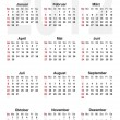 Calendar for 2012 - german - Stok Vektör