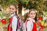 Two girl back school — Stock Photo