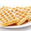 Freshly baked waffles - Stock Photo