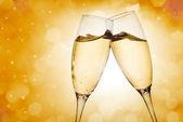 Two elegant champagne glasses — Stock Photo