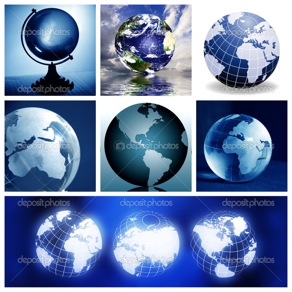 Collage with globes, made from seven images — Stock Photo #7957135