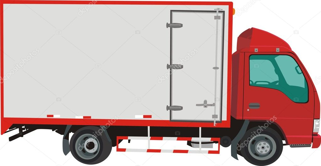 Red vector truck isolated on white background — Stock Vector #7549590