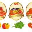 Three gold labels with different sorts of vegetables. Vector. — Stock Vector