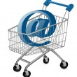 E-mail sign in a shopping cart. Internet shopping concept. Vector. — Stock Vector