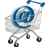 E-mail sign in a shopping cart. Internet shopping concept. Vector. — Stock Vector #6978900