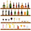 Set of different drinks and bottles on the wall. Vector illustration — Stock Vector #6979006