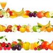 Three fruit design borders isolated on white. Vector. — Stock Vector