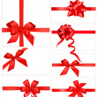 Big set of red gift bows with ribbons. Vector. — Stok Vektör