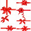 Big set of red gift bows with ribbons. Vector. — Stock Vector #6979477