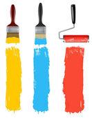 Conjunto de escovas de rolo de pintura colorida. ilustração vetorial. — Vetorial Stock