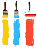Set de cepillos cilíndricos de pintura colorida. ilustración vectorial. — Vector de stock