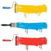 多彩涂料辊刷的设置。矢量插画. — 图库矢量图片