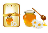 Background with honey and wood stick and label. Vector illustration. — Stock Vector