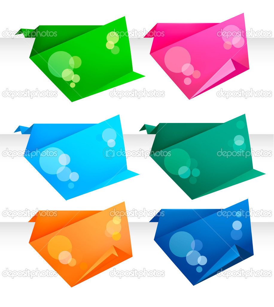 Set with colorful origami paper banners. Vector illustration.  — Stock Vector #6978994
