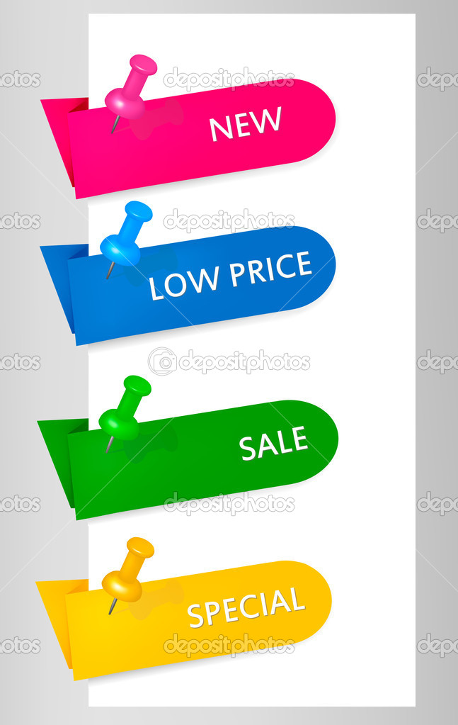 Empty colorful paper tags with pushpins. Vector illustration  — Stock Vector #6979378