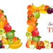 Letter A and a frame made from fruit. Vector. — Stock Vector #6995327