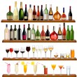 Set of different drinks and bottles on the wall. Vector illustration. — Stock Vector #6995554