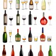 Set of different drinks and bottles. Vector illustration. — Stock Vector #6995706