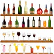 Royalty-Free Stock Vector Image: Set of different drinks and bottles on the wall. Vector illustration.