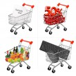 Vector illustration of a shopping carts on the white. — Stock Vector