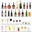 Set of different drinks and bottles on the wall. Vector illustration. — Stock Vector #6996303
