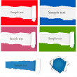 Set with ripped colored paper stickers. Vector illustration — Stock Vector