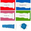 Set with ripped colored paper stickers. Vector illustration — Stock Vector #6996323