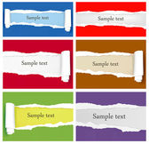 Set of ripped colorful paper backgrounds. Vector illustration — Stock Vector