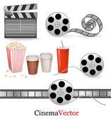 Big set of cinema objects. Vector illustration. — Stock Vector