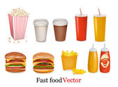 Vector. Big group of fast food products. — Stock Vector