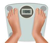 Beautiful young feet on the scale. Concept of diet. Vector. — Stock Vector