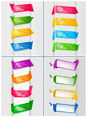 Big set of colorful origami paper banners. Vector illustration. — Stock Vector