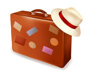 Travel suitcases and hats. Vector illustration. — Stock Vector